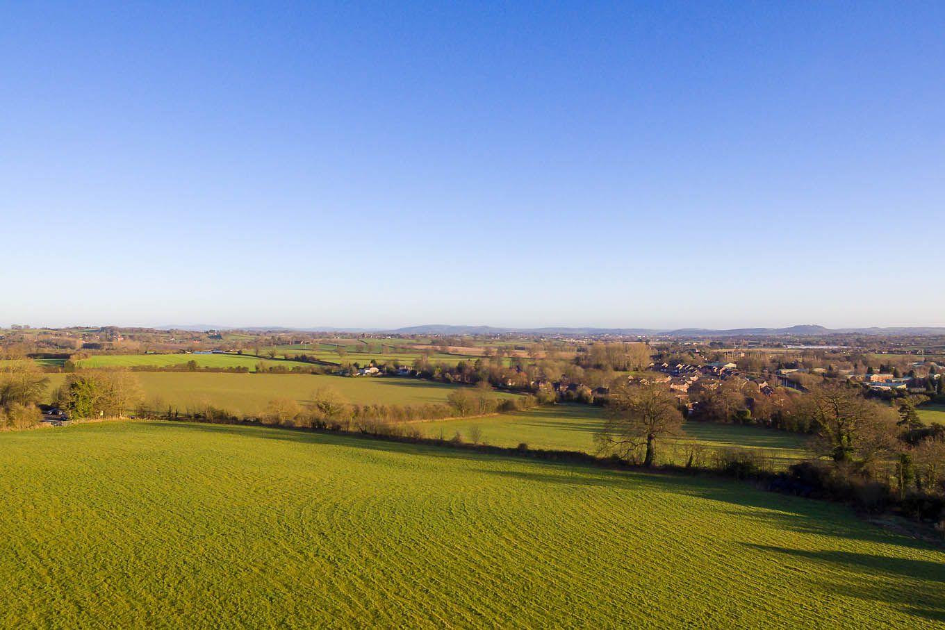 Aerial view of rural Herefordshire taken with a Drone.