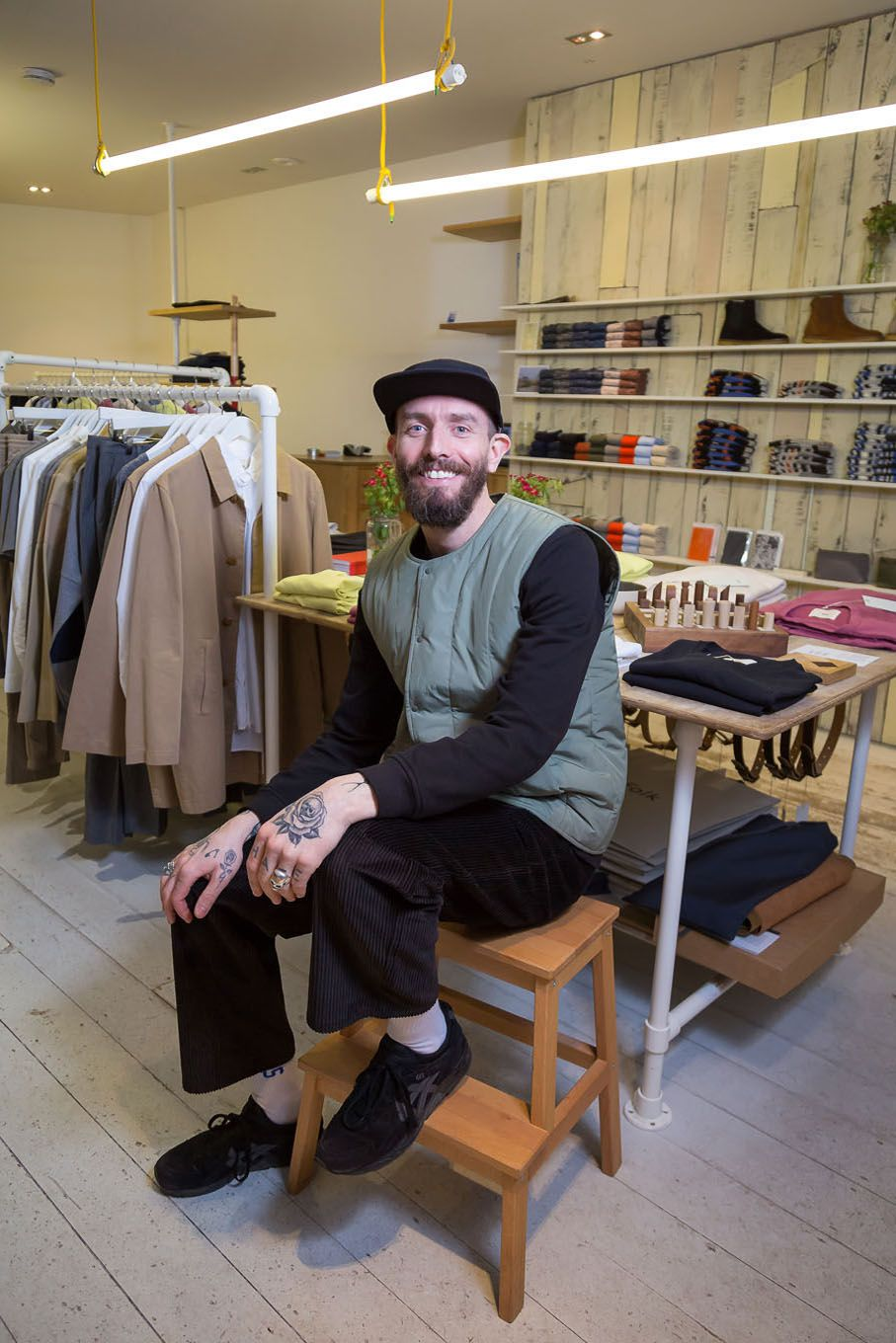 Portrait of a clothes shop owner in London Bloomsbury