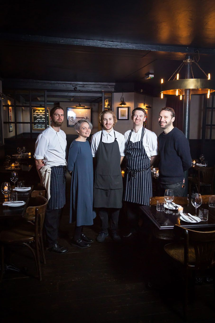 Portrait of a restaurant manager and staff in London Bloomsbury