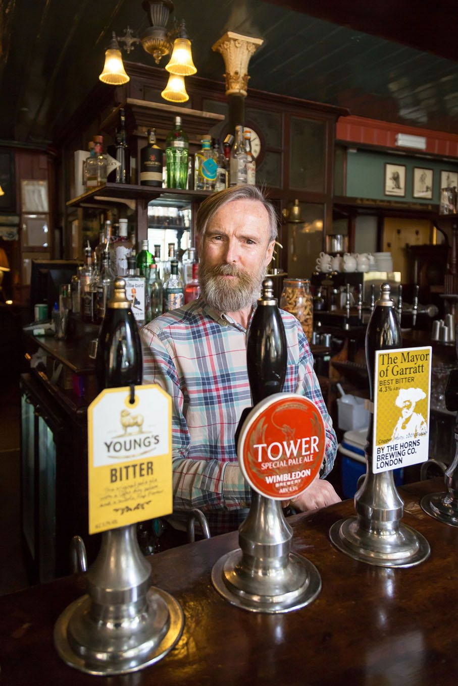 Portrait of a bar tender of a pub in London Bloomsbury
