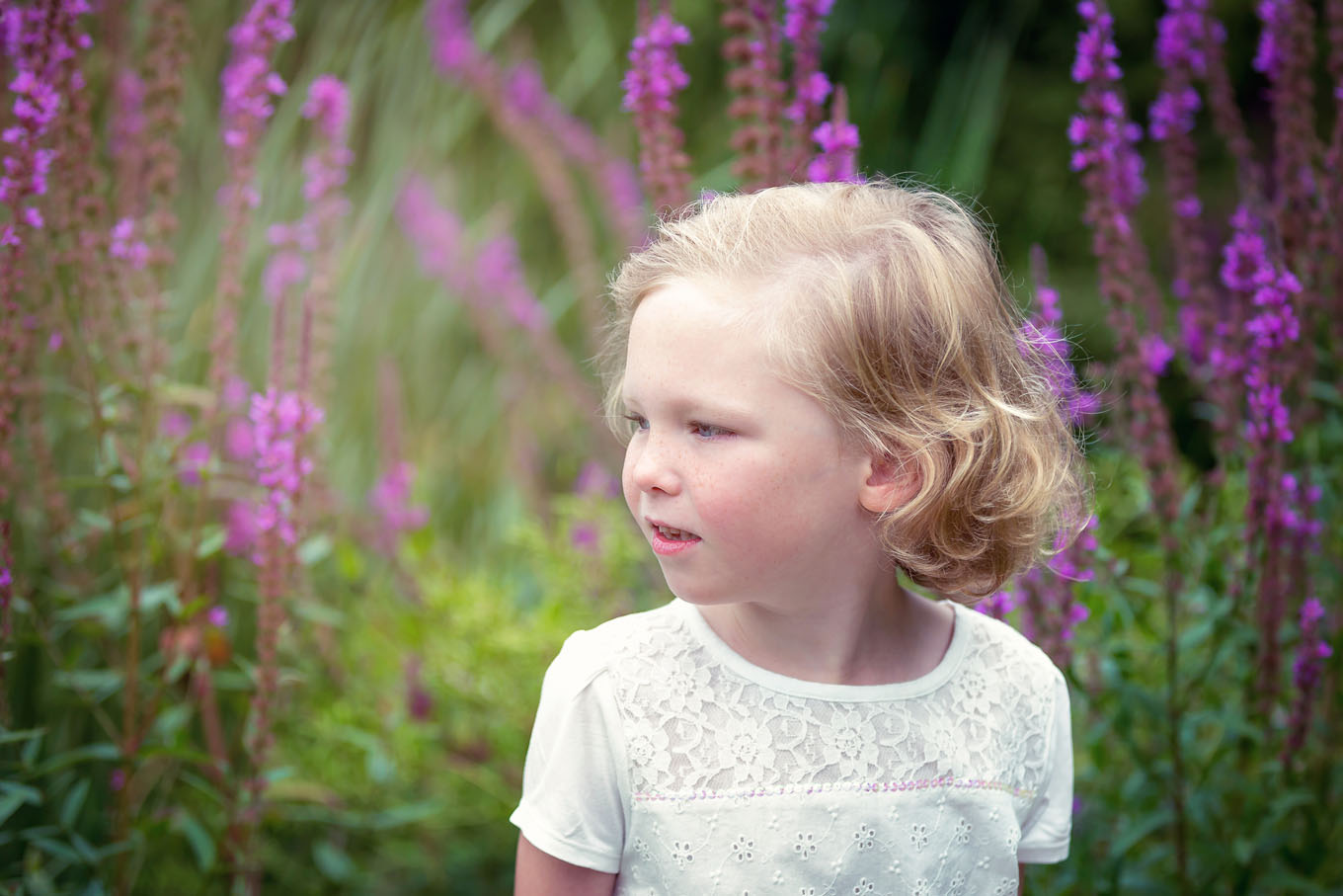 Summer outdoor portrait of a little girl
