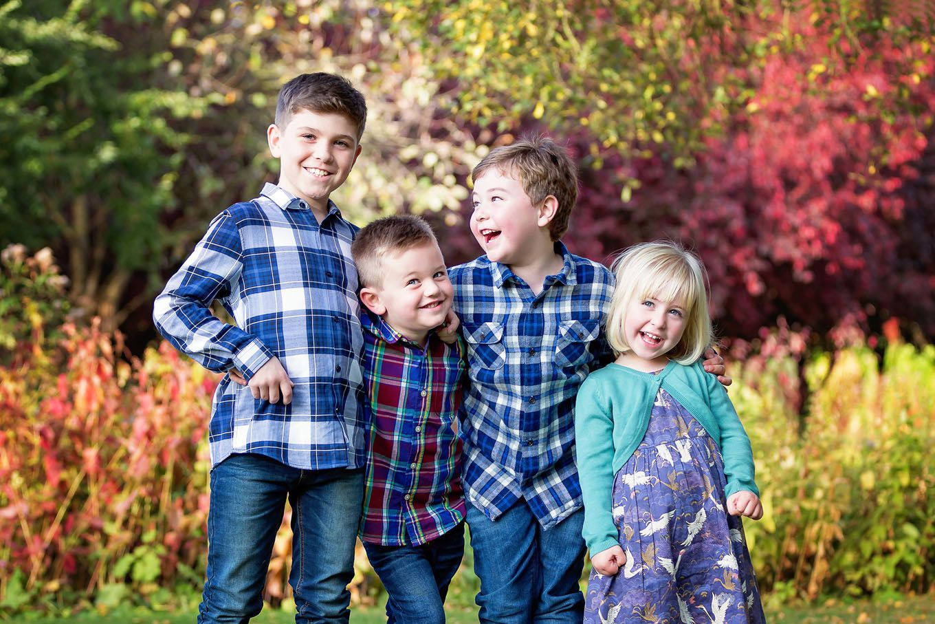 Autumnal outdoor portrait of children